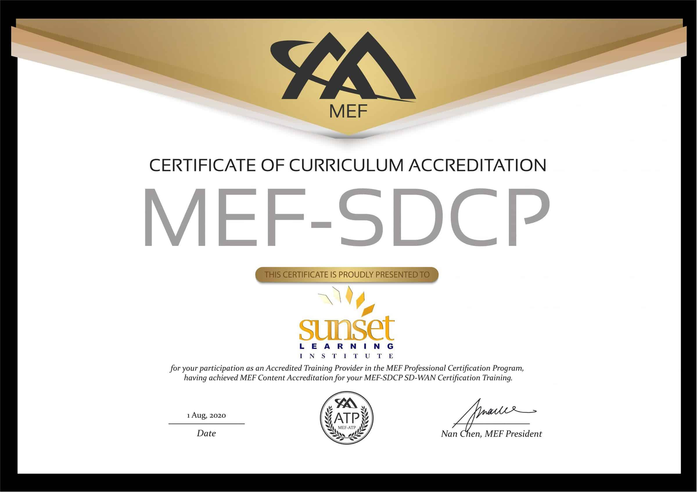 certificate mef training wan sd sunset learning institute certifications services